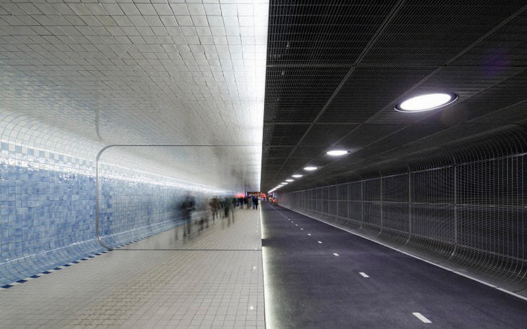 Cycle and pedestrian tunnel at Amsterdam Central Station